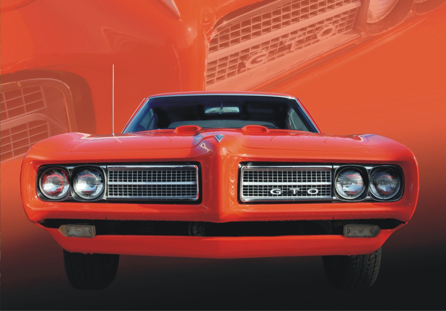 fototapete tapete pontiac gto in rot us car rot floral. Black Bedroom Furniture Sets. Home Design Ideas