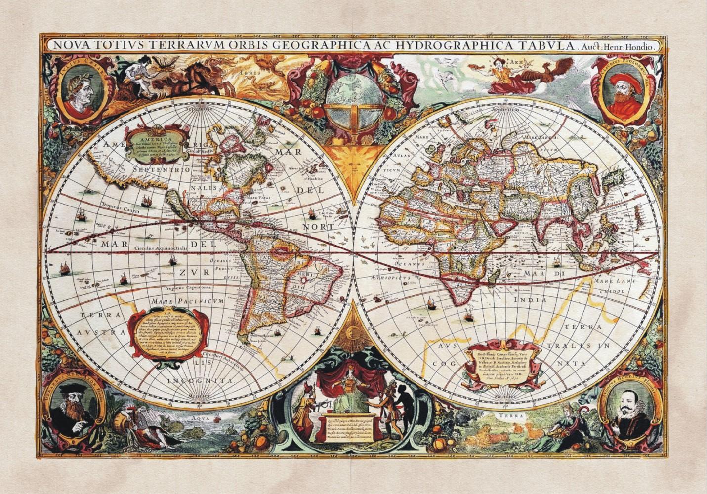 XXL Poster Fototapete Tapete Historische Weltkarte Geographie Foto 160 cm x 115 cm