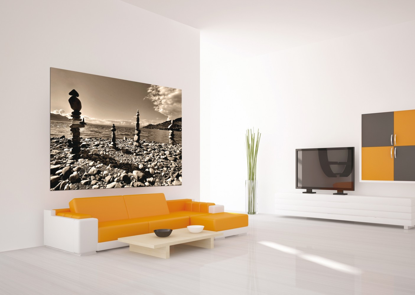 xxl poster fototapete tapete natur steine meer sepia foto 160 cm x 115 cm. Black Bedroom Furniture Sets. Home Design Ideas
