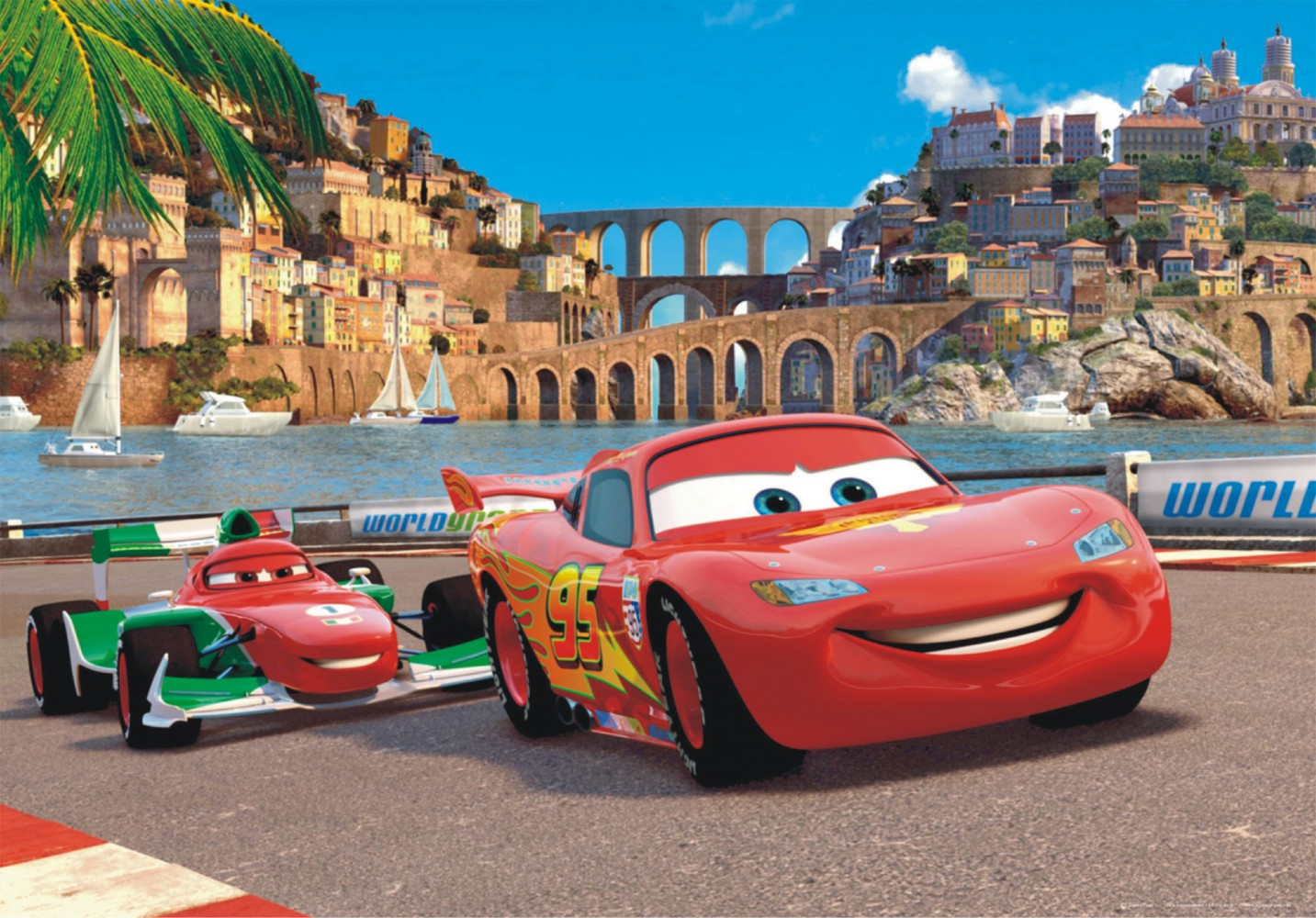 Xxl poster wall mural wallpaper disney cars 2 mcqueen - Disney cars wallpaper ...