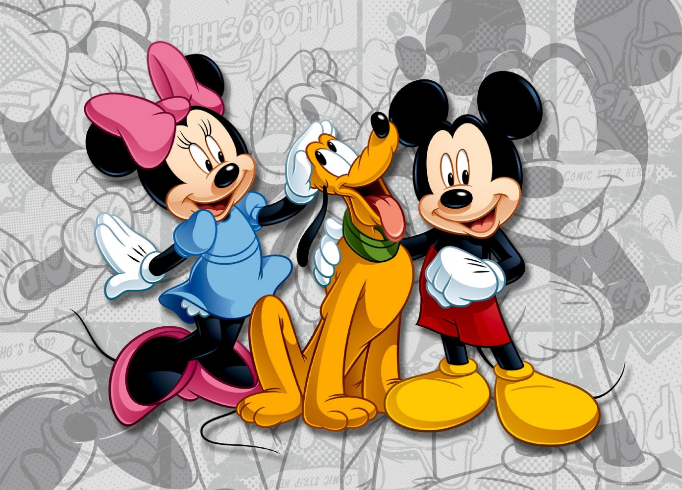 xxl poster fototapete tapete disney micky mouse minni pluto foto 160 x 115 cm. Black Bedroom Furniture Sets. Home Design Ideas