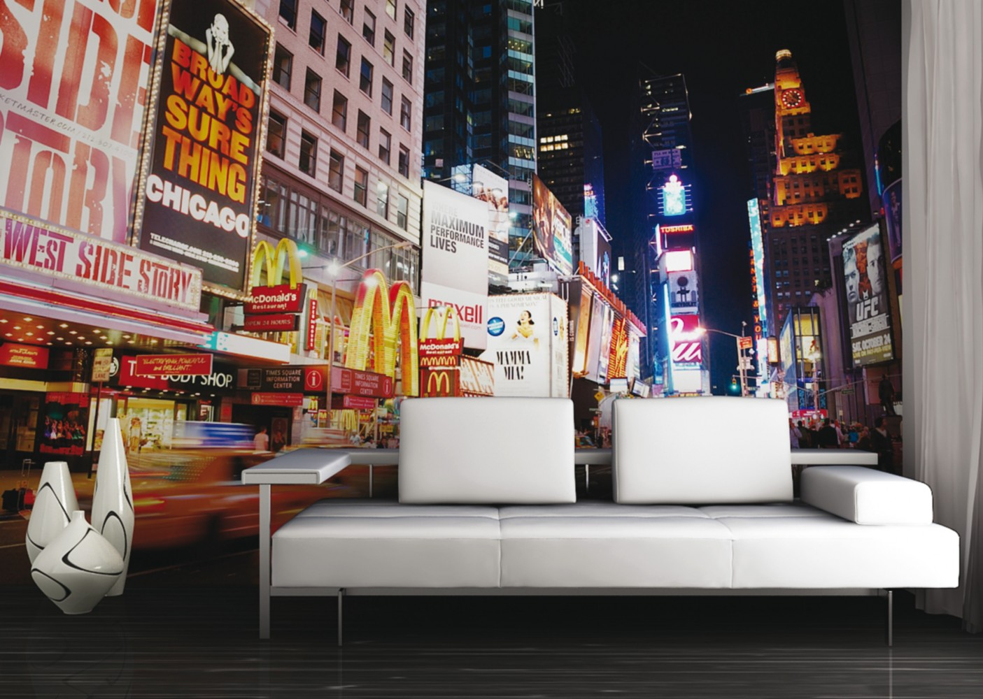 fototapete tapete new york times square bei nacht nyc foto. Black Bedroom Furniture Sets. Home Design Ideas