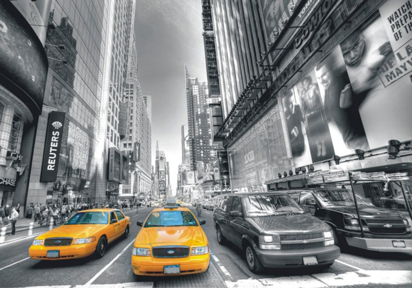 Wall mural non-woven wallpaper New York Taxi Yellow Cap Manhattan NYC ...