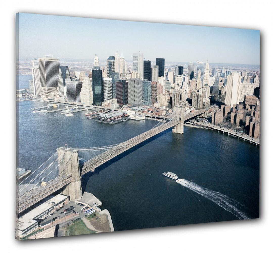 Wandbild fotodruck keilrahmen bild new york skyline 3d brooklyn bridge 60x80 cm - Wandbild new york ...