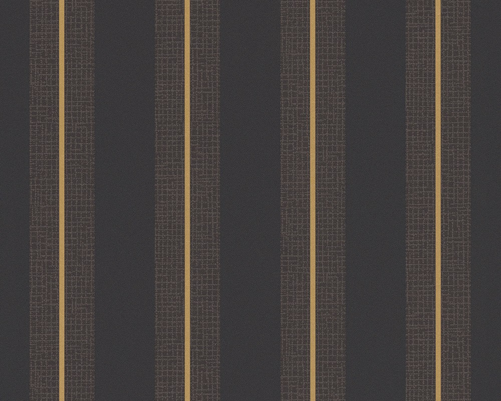 Tapeten Livingwalls Streamline : Black and Gold Stripe