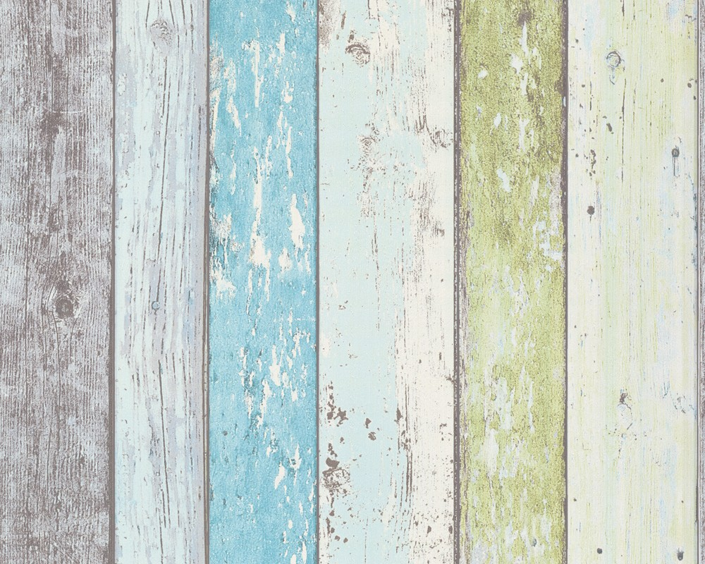 Gestreifte Tapeten T?rkis : Weathered Wood Plank Wall