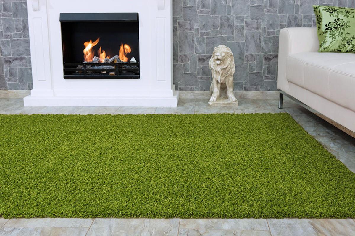 langflor teppich hochflor teppich fancy uni einfarbig gr n. Black Bedroom Furniture Sets. Home Design Ideas