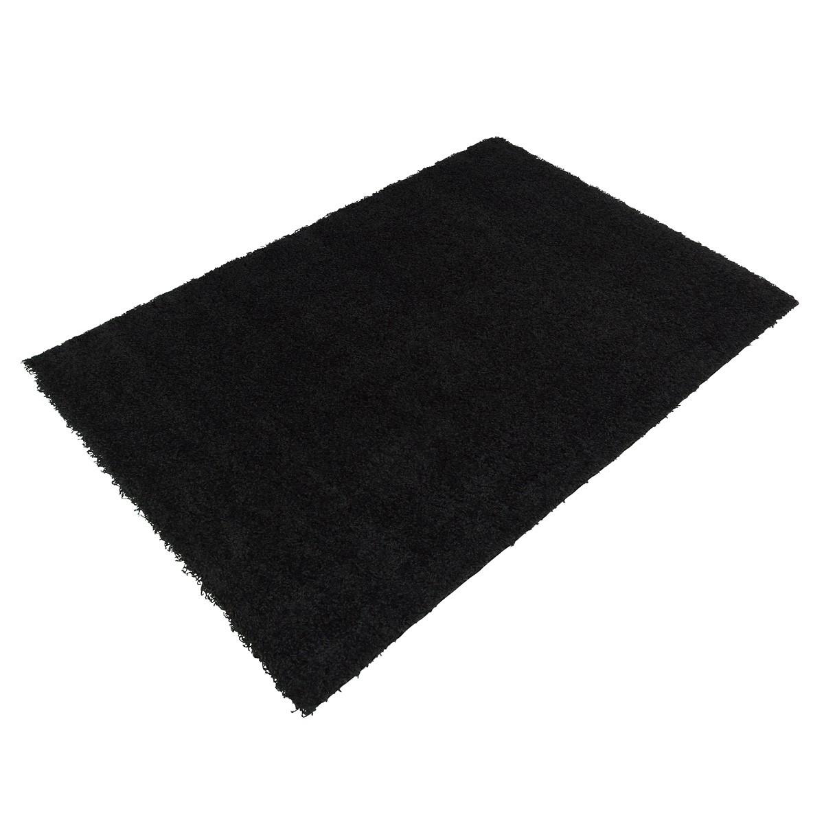 langflor teppich schwarz uni hochflor versch gr en. Black Bedroom Furniture Sets. Home Design Ideas