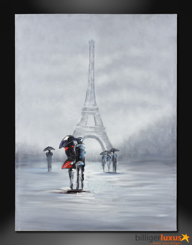 Original oil painting canvas eiffel tower picture 122x91 for A mural is painted on a