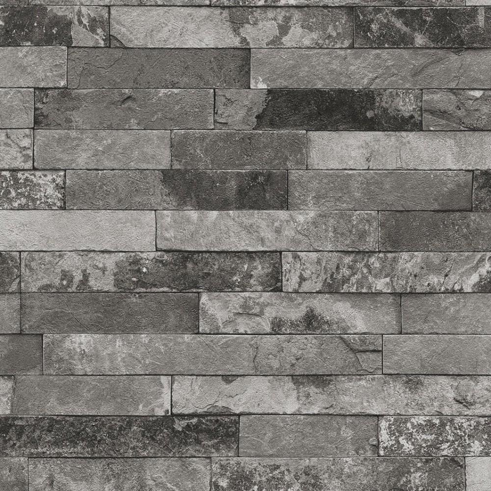 Tapete rasch factory 438406 steine grau silber steintapete for Tapete silber grau