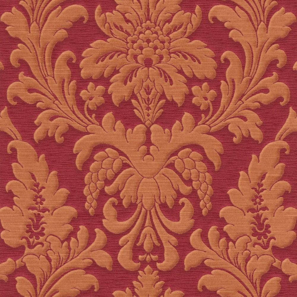 Rasch trianon 513677 vliestapete barock rot orange for Tapete weinrot muster
