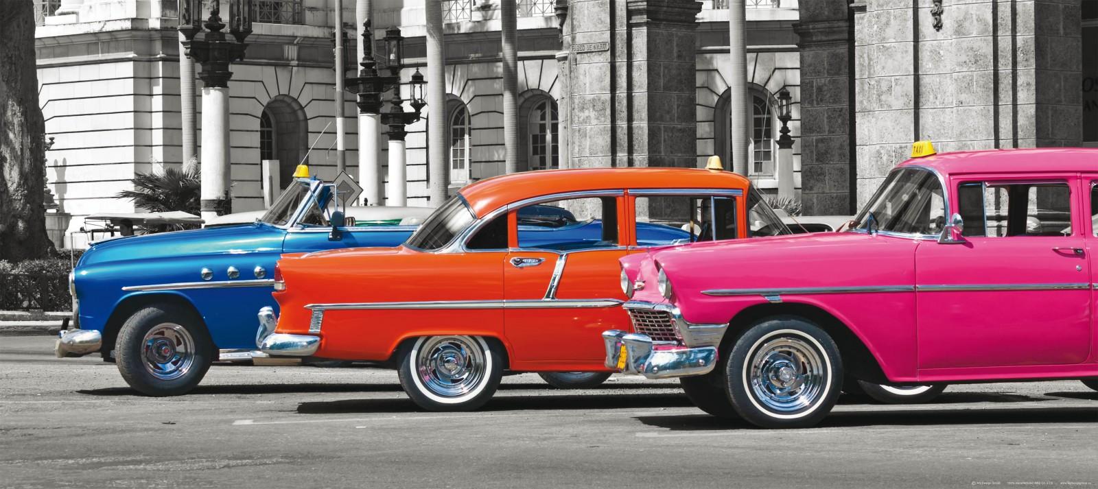 fototapete tapete autos oldtimer blau orange pink foto 90. Black Bedroom Furniture Sets. Home Design Ideas
