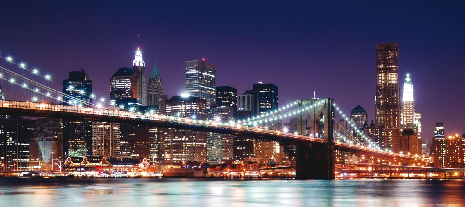 fototapete tapete brooklyn bridge nacht beleuchtet new york nyc foto 90 x 202 cm. Black Bedroom Furniture Sets. Home Design Ideas