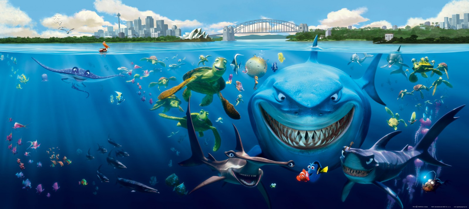 Wall mural wallpaper finding nemo 3 sharks bruce anchor for Finding nemo fish names
