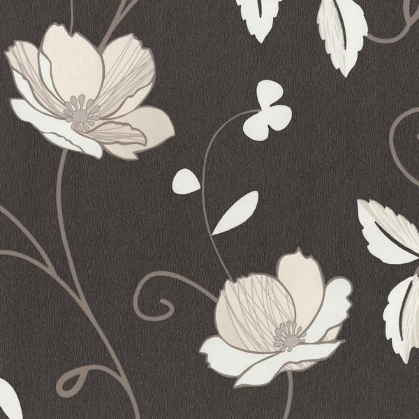 vliestapete blumen braun creme tr sor ps 02282 10. Black Bedroom Furniture Sets. Home Design Ideas