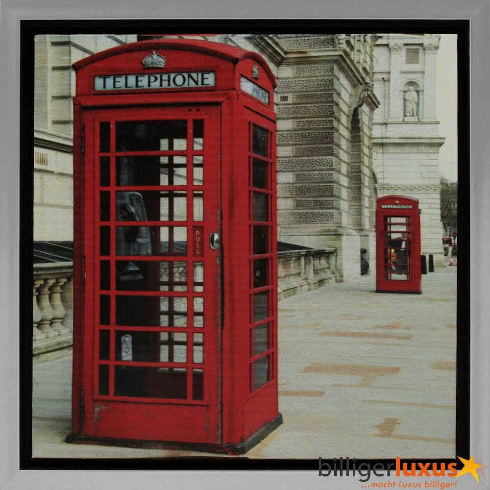 wandbild gerahmt 35x35 cm london telefonzelle rot. Black Bedroom Furniture Sets. Home Design Ideas