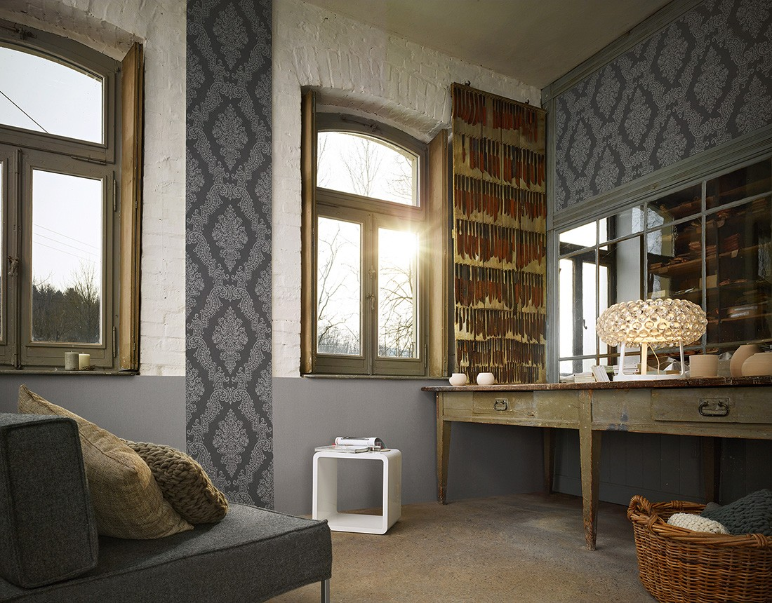 Vliestapete barock grau elegance as creation 93677 2 - Billiger luxus tapeten ...