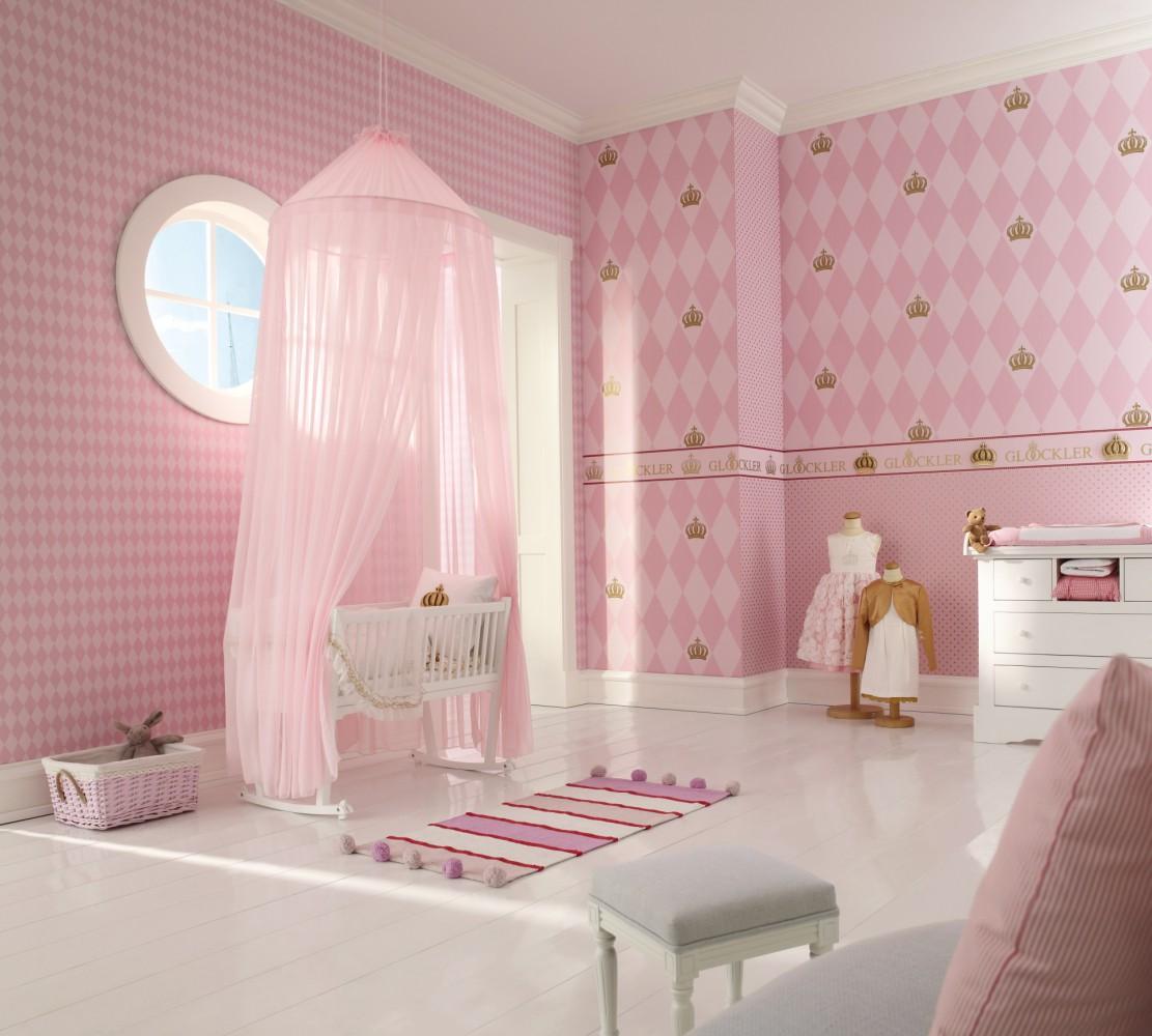 kindertapete gl ckler rauten krone rosa 54138. Black Bedroom Furniture Sets. Home Design Ideas