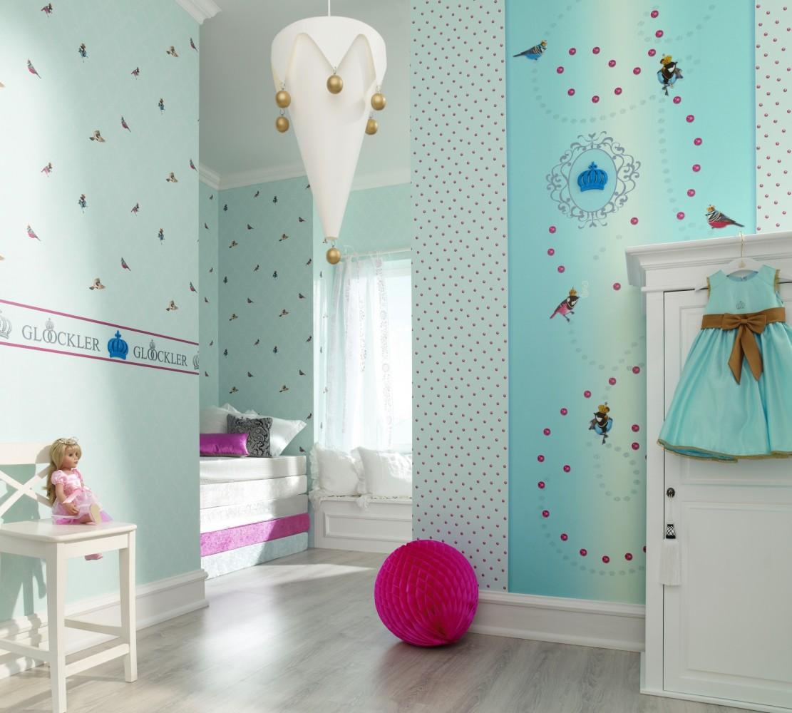 kindertapete gl ckler v gel blau wei 54111. Black Bedroom Furniture Sets. Home Design Ideas
