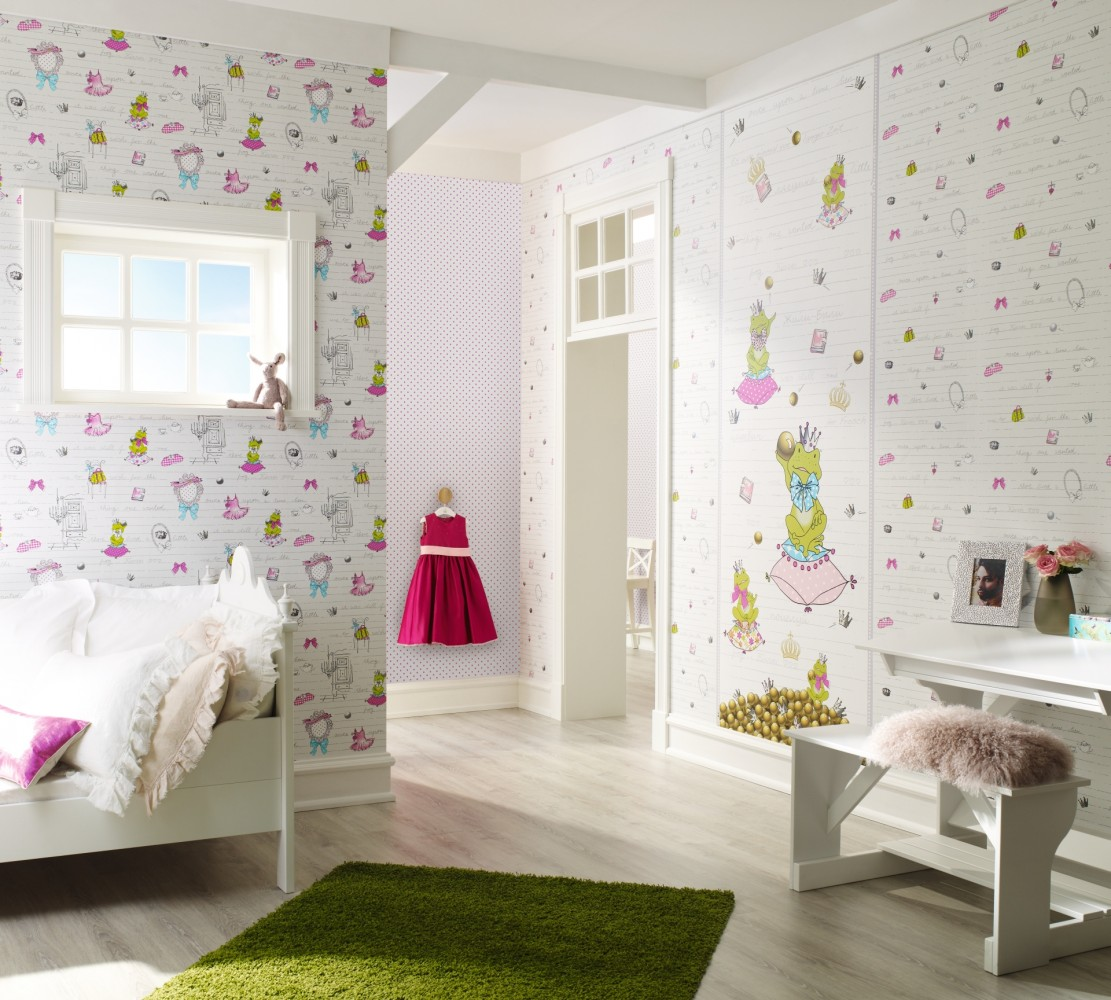 kindertapete gl ckler rosa pink 54122. Black Bedroom Furniture Sets. Home Design Ideas