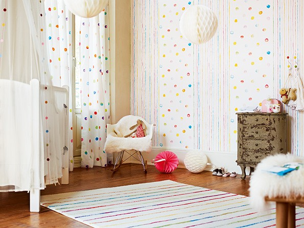 Kindertapete esprit kids punkte wei bunt 94134 1 - Verdunklungsstoff kinderzimmer ...