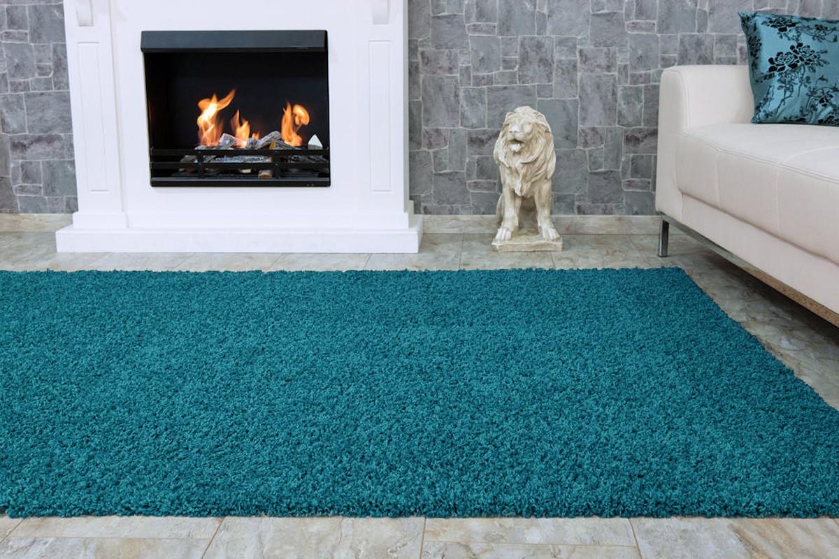 Langflor Teppich Hochflor Teppich Fancy Uni Einfarbig türkis