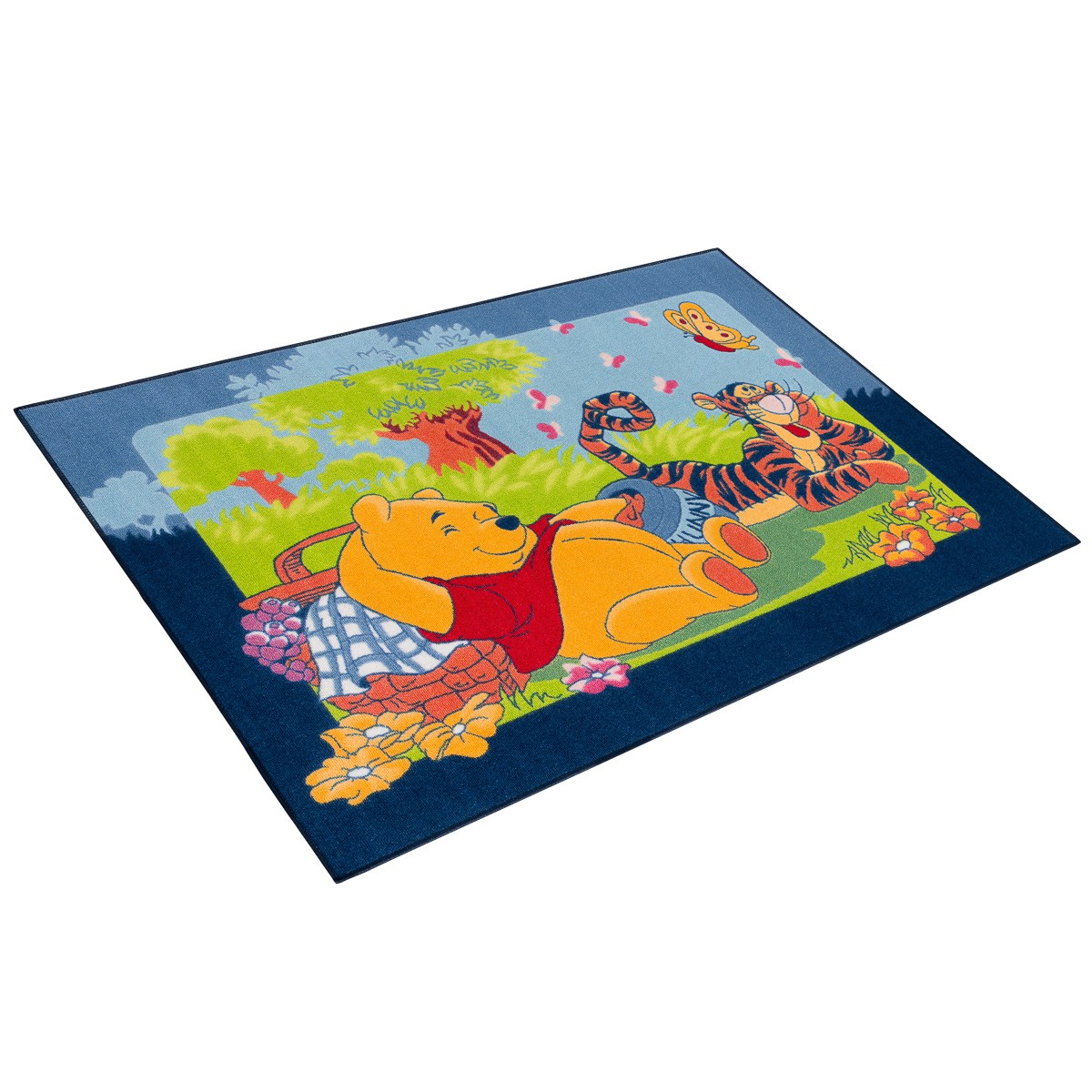 teppich winnie pooh picknick 95x133cm blau gr n. Black Bedroom Furniture Sets. Home Design Ideas