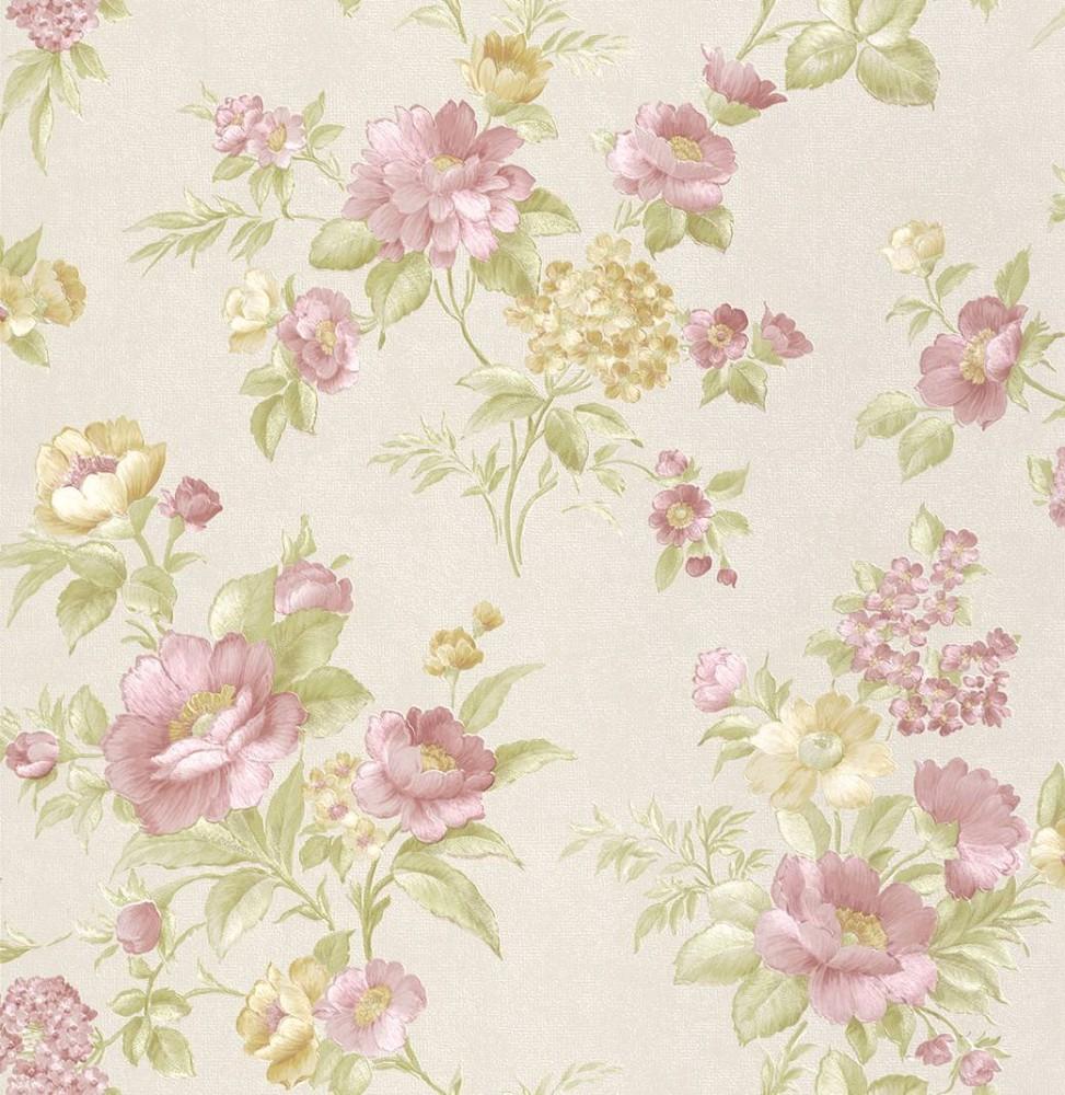 tapete rasch textil blumen wei rosa 324456. Black Bedroom Furniture Sets. Home Design Ideas