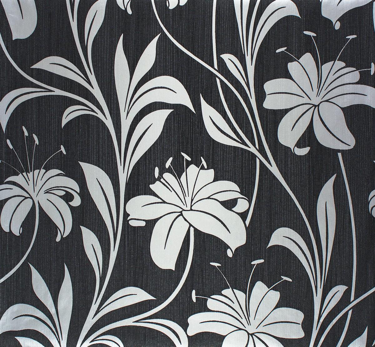 Keilrahmen Mit Tapeten Gestalten : Vliestapete Floral schwarz silber Marburg 55121
