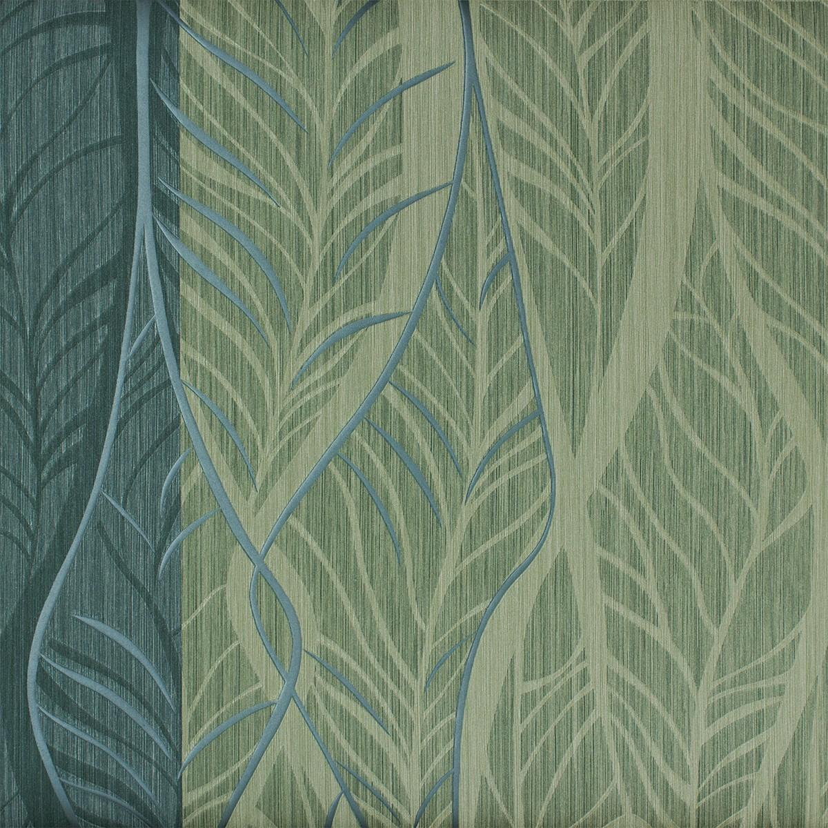 Tapete Streifen Blu00e4tter gru00fcn blau Tapeten Rasch Textil ...