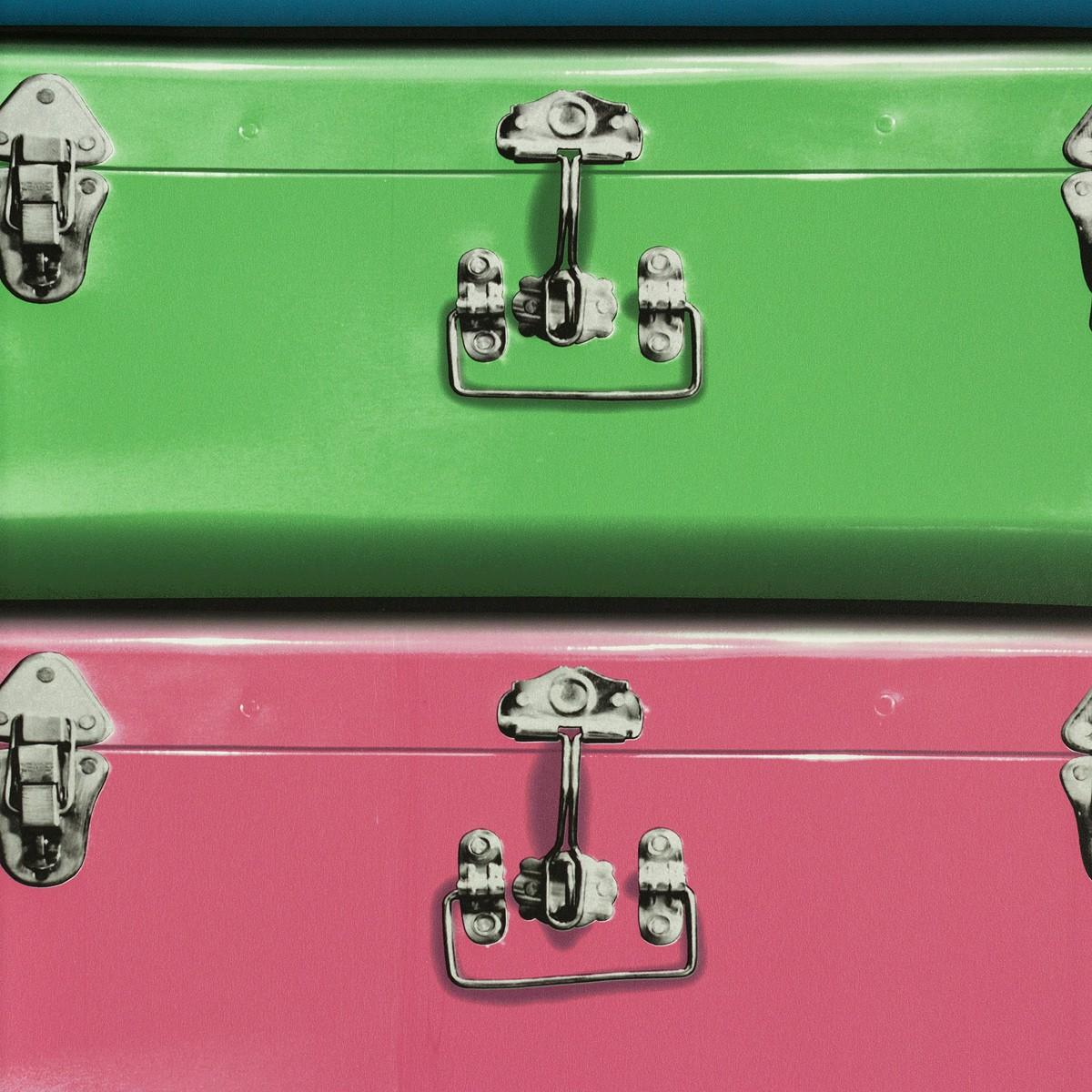 tapete koffer rosa gr n blau tapeten rasch textil new age 319865. Black Bedroom Furniture Sets. Home Design Ideas