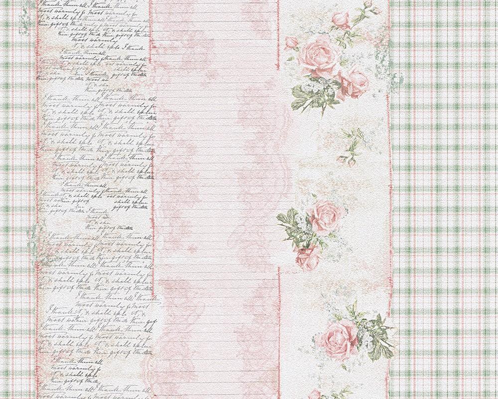 Tapete landhaus streifen blumen rosa gr n djooz 95666 1 for Tapete romantisch