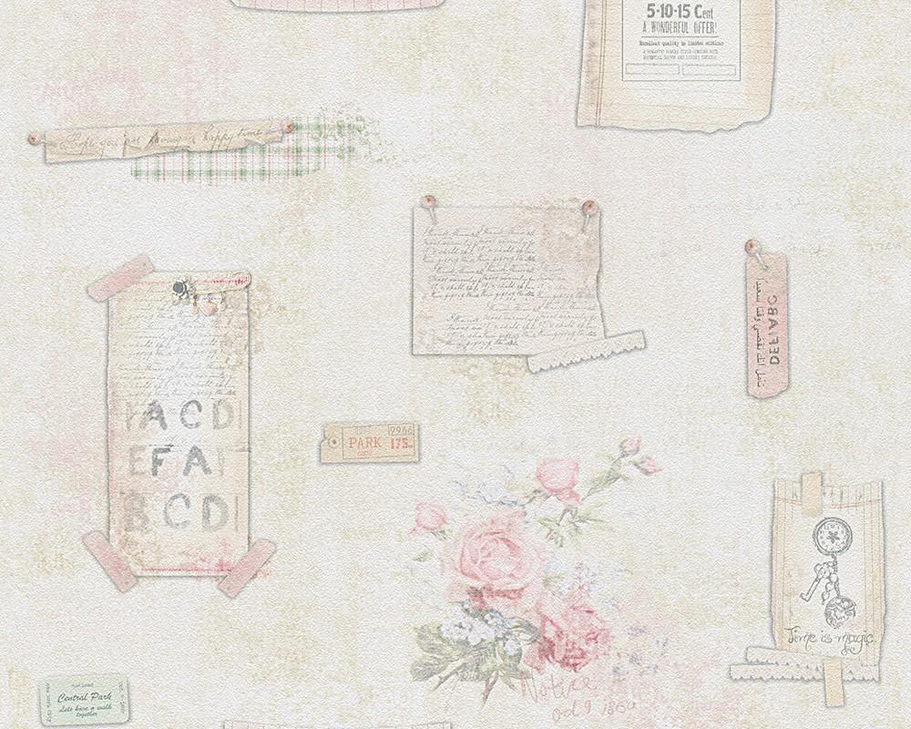Schlafzimmer Tapete Landhaus : Tapete Landhaus creme rosa Djooz 95668-1