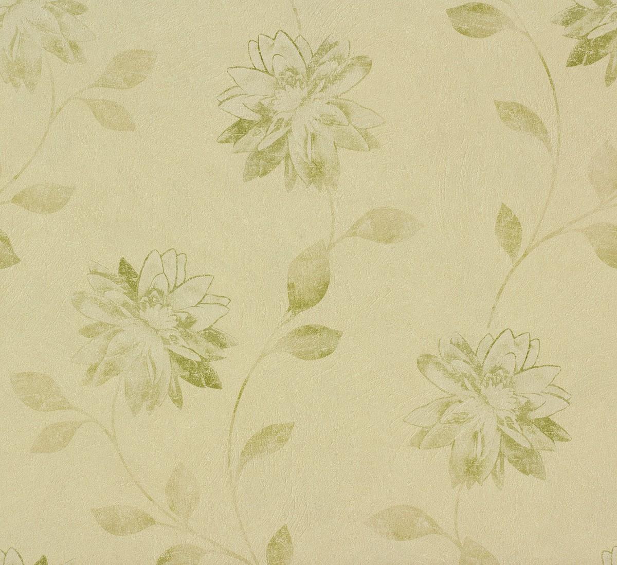 tapete rasch fiducia blumen beige gr n 425154. Black Bedroom Furniture Sets. Home Design Ideas