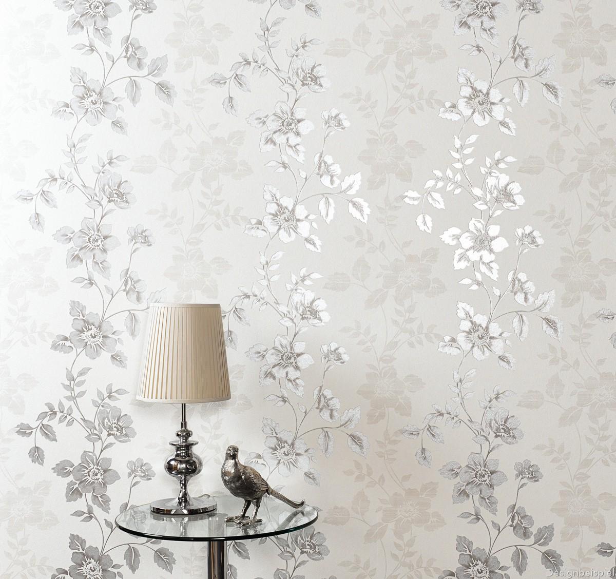 vliestapete blumen creme grau erismann isabella 5917 37. Black Bedroom Furniture Sets. Home Design Ideas
