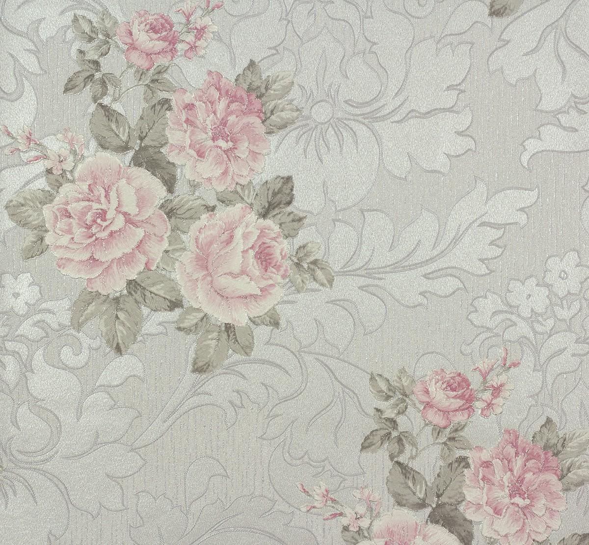 Vliestapete Floral lila rosa silber Tapete P+S Como 02367 ...