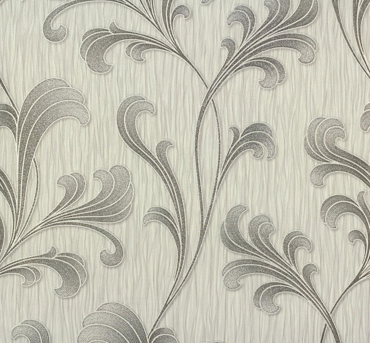 vliestapete floral ranken design grau silber tapete p s. Black Bedroom Furniture Sets. Home Design Ideas