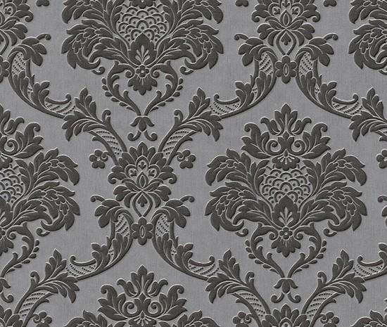 Barock Crash Tapete Charisma : Black and Grey Damask Wallpaper